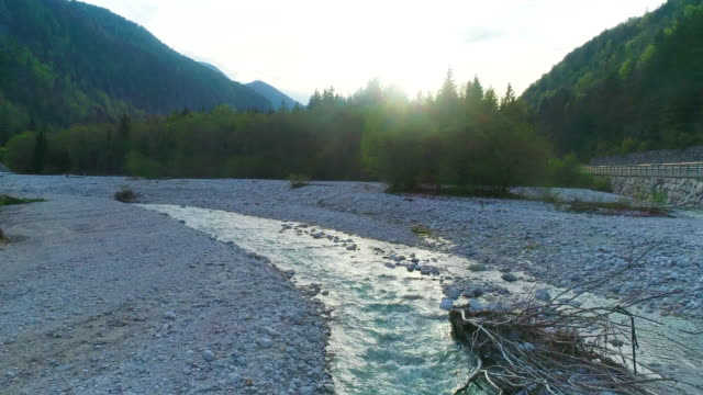 drone point of view following soca river in triglav national park - triglav national park stock videos and b-roll footage