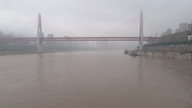 rt ws ha drone point of view on city river / chongqing, china - ship's bridge stock videos & royalty-free footage