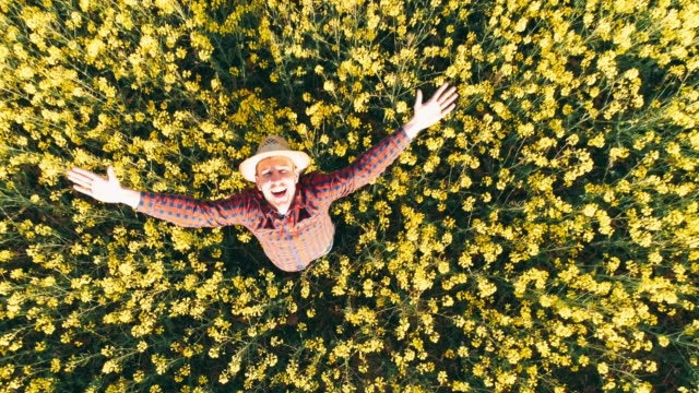 drone point of view portrait exuberant farmer in sunny,rural yellow canola field,real time - exhilaration stock videos & royalty-free footage