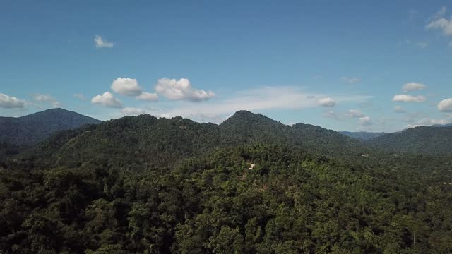 drone point of view tropical rainforest mountain kuala kubu rural scene - hill stock videos & royalty-free footage