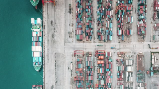 t/l drone point view of busy industrial port - container stock videos & royalty-free footage