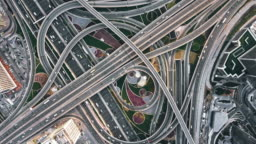 T/L Drone Point View of Road Intersection at Daytime / Dubai, UAE