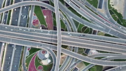 Drone Point View of Road Intersection / Dubai, UAE