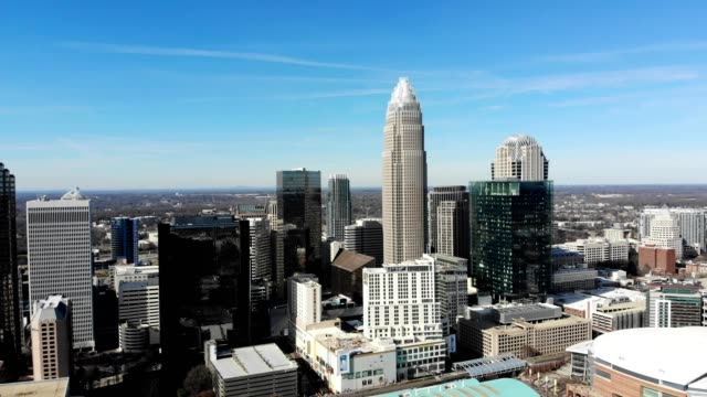 a drone reveals a portion of downtwon charlotte north carolina - charlotte north carolina stock videos & royalty-free footage