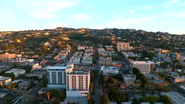 A drone reveals Sunset Blvd in West Hollywood Los Angeles California