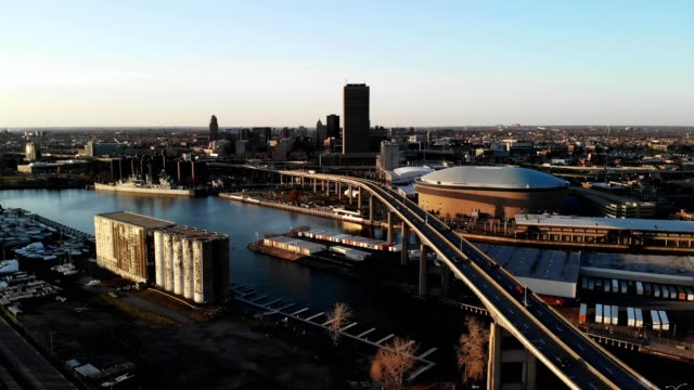 a drone reverses from downtown buffalo new york - buffalo new york state stock videos & royalty-free footage