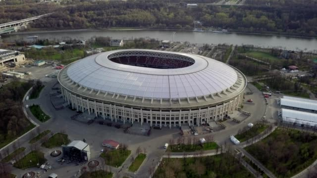 A drone rises in front of Luzhniki Stadium in Moscow Russia