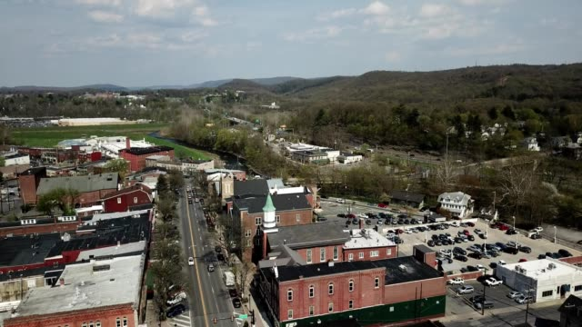 a drone rises over interstate 80 through the pocono mountains in stroudsburg pennsylvania - dronebase stock videos and b-roll footage