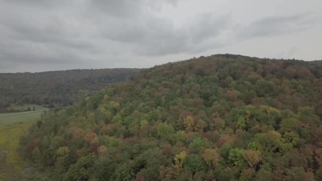 a drone rises up a fall colored hill in albany new york - albany new york state stock videos & royalty-free footage