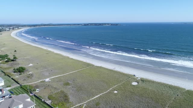 A Drone Rises Up Over Beach Homes In Pine Point Scarborough Maine Stock Footage Video Getty Images