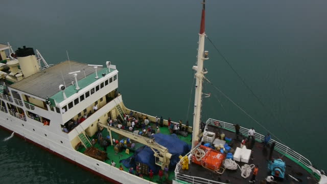 Drone sequence flying over the passenger ferry Liemba, sailing on Lake Tanganyika.
