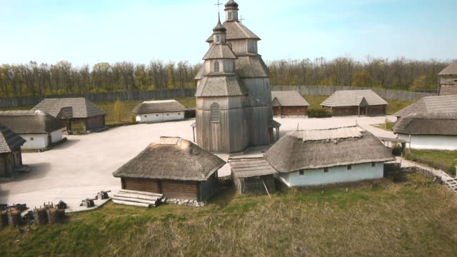 drone sequence over a beautiful wooden church on the island of khortytsia, ukraine. - reservoir stock videos and b-roll footage