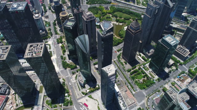 Drone shot: 4K Aerial view of Lujiazui District in Shanghai
