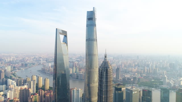 drone shot: 4k aerial view of lujiazui financial district in shanghai. - shanghai tower stock videos & royalty-free footage