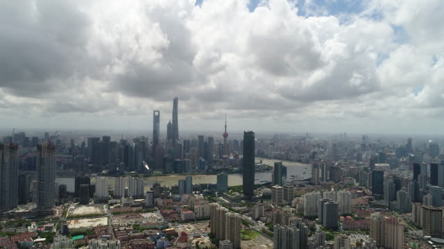 Drone shot: 4K Aerial view of Lujiazui Financial District in Shanghai.