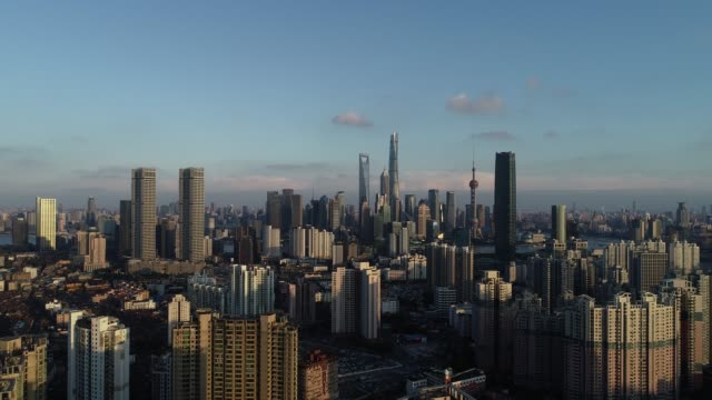 Drone shot: 4K Aerial view of Shanghai skyline at sunset