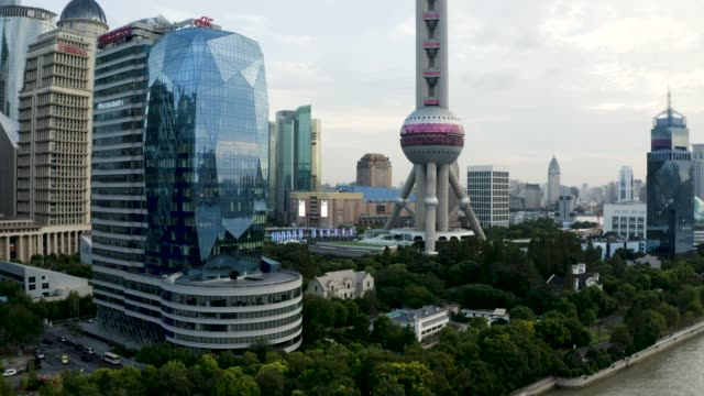 drone shot: 4k aerial view of shanghai skyline - china east asia stock videos & royalty-free footage