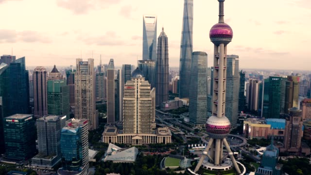 drone shot: 4k aerial view of shanghai skyline - shanghai stock videos & royalty-free footage