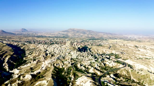 drone shot 4k: aerial view of uchisar castle, cappadocia.,nevsehir province,turkey - country geographic area stock videos & royalty-free footage