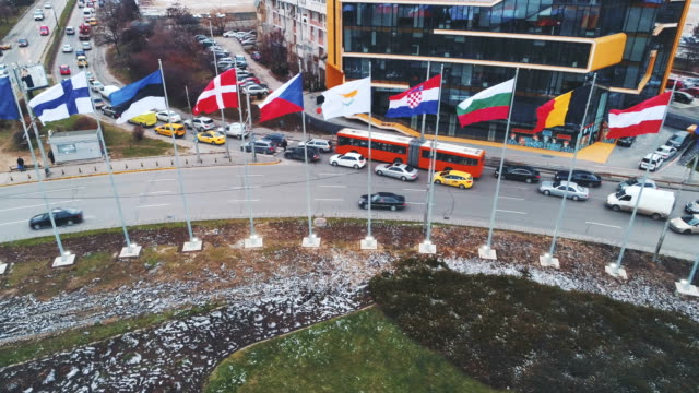 Drone shot aerial view of european union flags in Sofia, Bulgaria