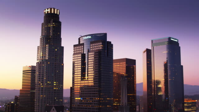 drone shot approaching dtla office buildings at dusk - last stock videos & royalty-free footage
