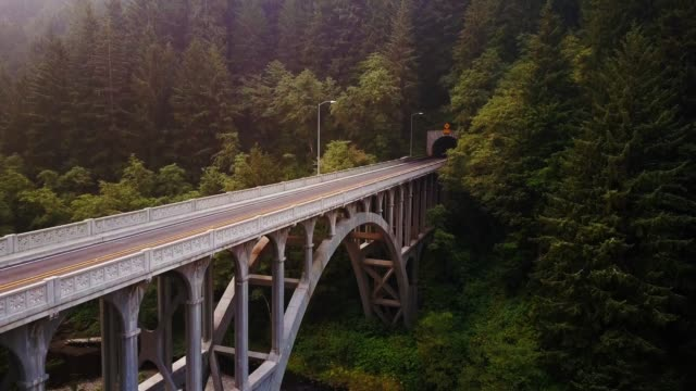 drone shot ascending past  cape creek bridge, oregon - aerial view - heceta head stock videos & royalty-free footage