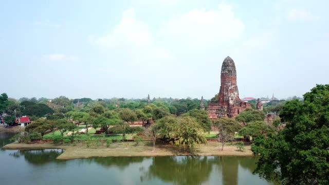 drone shot ayudhaya ancient city temple , thailand - ayuthaya province stock videos and b-roll footage
