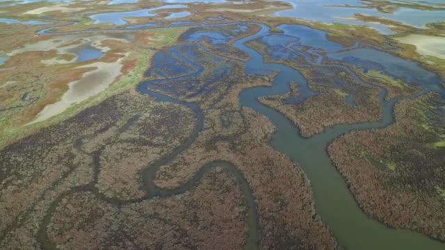 drone shot flying over a wetlands area on the coastline of cadiz province, spain. - cádiz stock videos and b-roll footage