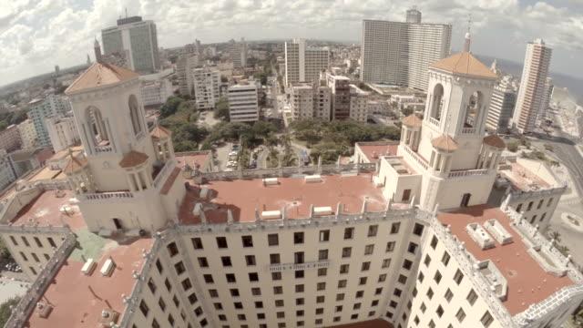 drone shot flying over nacional hotel havana - hotel nacional stock videos and b-roll footage
