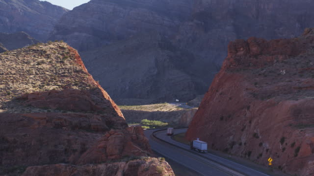Drone Shot Following Trucks on I-5 in Virgin River Gorge, AZ