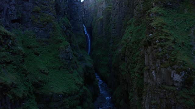 drone shot iceland glymur waterfall take 1 scene 4-9 - swimming shorts stock videos & royalty-free footage