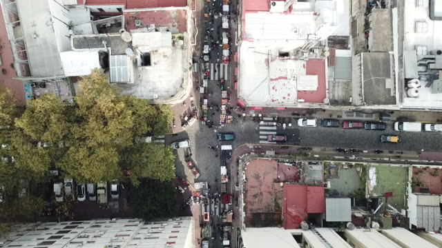 drone shot looking down at san telmo (neighborhood of buenos aires, argentina) - san telmo stock videos & royalty-free footage