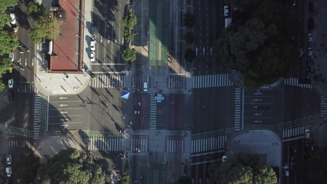 Drone shot looking down on Av. 9 de Julio – Microcentro (downtown Buenos Aires, Argentina)