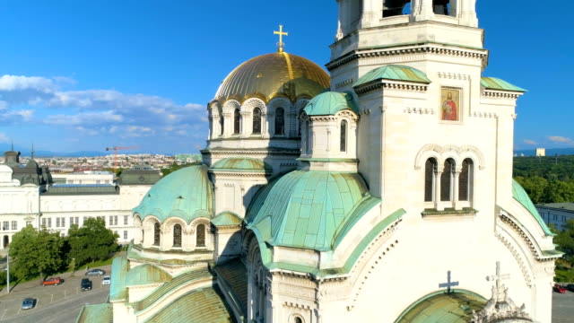 drone shot of a beautiful city cathedral church in sofia, bulgaria - bulgaria video stock e b–roll