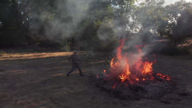 drone shot of a caucasian man in his forties throws wooden sticks and branches on to a large flaming burn pile with a pitchfork outdoors - pitchfork stock videos & royalty-free footage