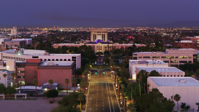 drone shot of arizona state capitol before sunrise - phoenix arizona stock videos & royalty-free footage