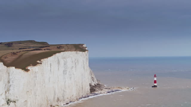 drone shot of beachy head, england - english channel stock videos & royalty-free footage