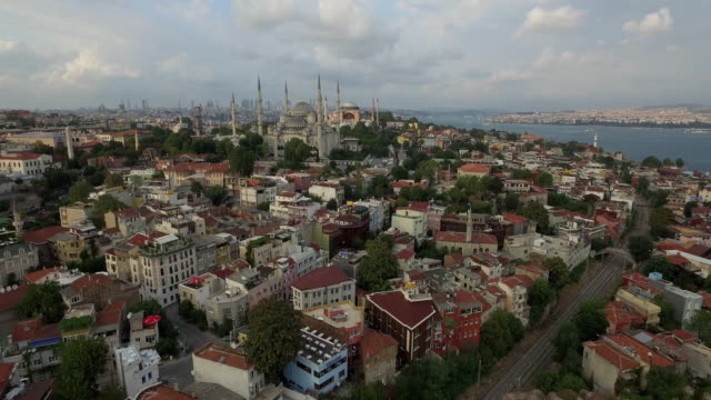 Drone shot of Blue Mosque amidst cityscape