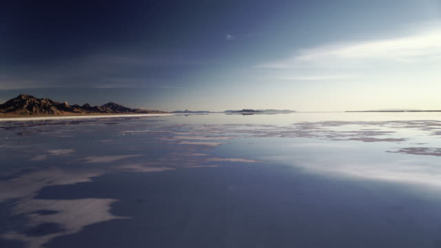 drone shot of bonneville salt flats in utah - bonneville salt flats stock videos and b-roll footage