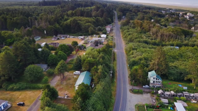 drone shot of copalis beach, washington - small town stock videos & royalty-free footage