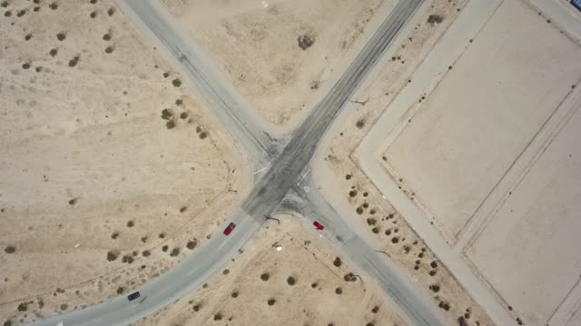 Drone shot of cross roads in Palm Springs, CA