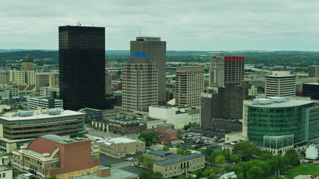 drone shot of downtown dayton with ohio scenery beyond - ohio stock videos & royalty-free footage