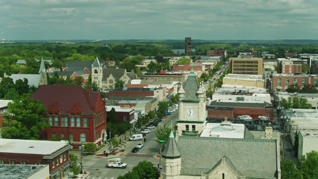 drone shot of downtown lawrence, kansas - kansas stock videos & royalty-free footage