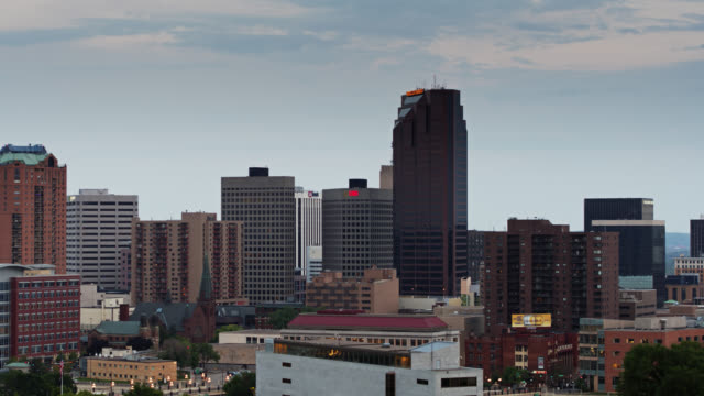 drone shot of downtown st paul at sunset - minnesota stock videos & royalty-free footage