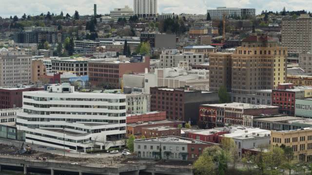 drone shot of downtown tacoma - pierce county washington state stock videos & royalty-free footage