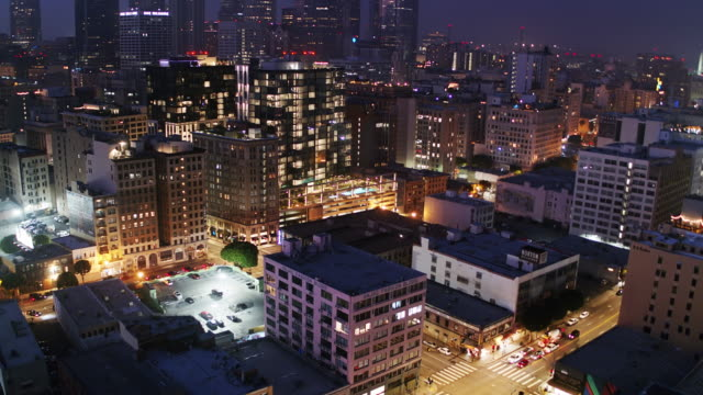Drone Shot of DTLA Fashion District and Financial District at Night