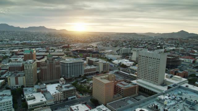 drone shot of el paso and ciudad juárez at sunset - el paso texas stock videos & royalty-free footage