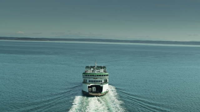 drone shot of ferry crossing puget sound - north pacific stock videos & royalty-free footage