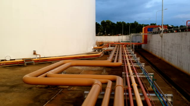 Drone shot of Fuel oil piping and fire protection piping in powerplant