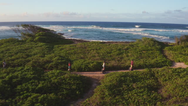 stockvideo's en b-roll-footage met drone shot of group riding segways along ocean - oahu